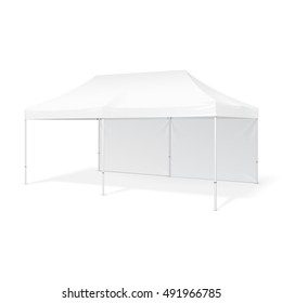 Promotional Outdoor Event Trade Show Pop-Up Tent Mobile Marquee. Mock Up, Template. Illustration Isolated On White Background. Ready For Your Design. Product Advertising Vector