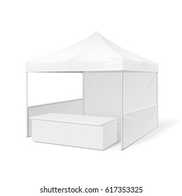 Promotional Outdoor Event Trade Show Pop-Up Tent Mobile Marquee. Mock Up, Template. Illustration Isolated On White Background. Ready For Your Design. Product Advertising. Vector EPS10