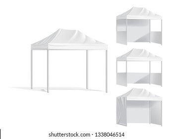 Promotional outdoor mobile tents. Mock up blank template of canopy from sun, illustration shelter canopy for commercial pavilion. Advertising mobile tent.