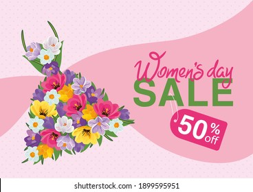 Promotional poster for International Women's Day with a beautiful dress made of blooming crocuses and tulips. Vector illustration, poster, flyer, banner, voucher.