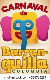 Promotional poster with smiling marimonda head (traditional Colombian costume) ready to participate in Barranquilla's Carnival (written in Spanish) celebration.