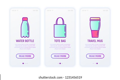 Promotional products thin line icons set: tote bag, water bottle, travel mug. Vector illustration for user mobile interface.