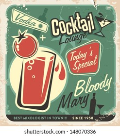 Promotional retro poster design for one of the most popular cocktails Bloody Mary. Food and drink concept on scratched old textured paper.