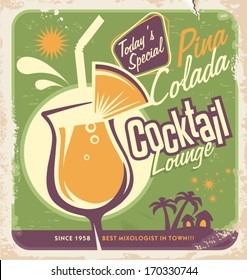 Promotional retro poster design for one of the most popular cocktails Pina Colada. Food and drink concept on scratched old textured paper.
