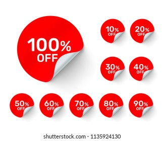 Promotional round stickers on white background, set pack. Vector illustration