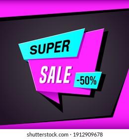 Promotional sale banner template design. Super sale, 50 percent off
