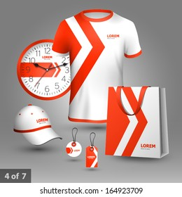 Promotional souvenirs design for company with red arrows. Elements of stationery.