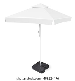 Promotional Square Outdoor Garden Umbrella Parasol. Mock Up, Template. Illustration Isolated On White Background. Ready For Your Design. Product Advertising. Vector EPS10