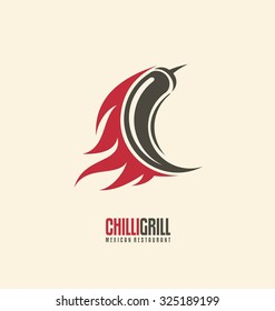 Promotional symbol concept for Mexican restaurant. Chili on fire creative logo design layout. Spicy food icon template.