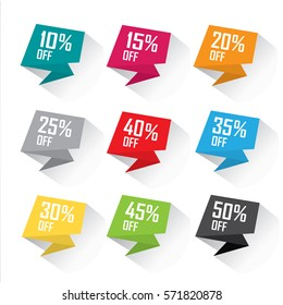 Promotional tag set - colorful flat vector design different discount offers