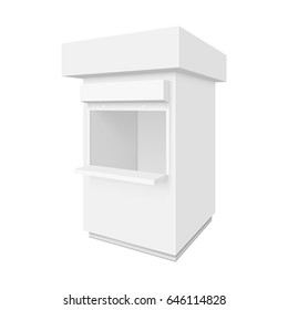 Promotional or trade outdoor kiosk. Illustration isolated on white background. Graphic concept for your design
