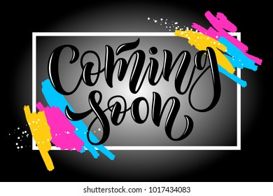 """Promotional vector calligraphy text """"Coming soon"""" lettering typography for brochure, blogger, ad, offer, coupon, shopping.Concept advertising for feminine, men clothes, catalogue, original, collection"""
