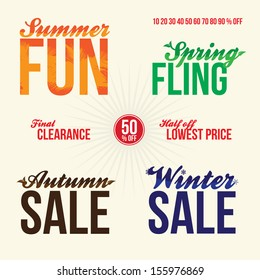 Promotional vintage typography sale elements logos for signage or web advertising that read summer fun spring fling final clearance 50 percent off half off lowest price autumn and winter sales.