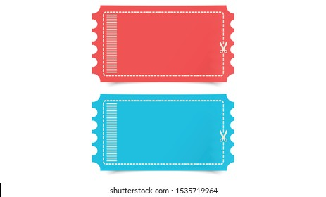 Promotions Vector, Coupon in Red and Blue color with barcode, dotted line and scissors