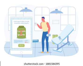 Prompt Banner, Guy Orders Nutritional Supplements. Athlete Uses his Phone to Order Healthy Eating. He is in Gym and Quickly Makes an Order through Application. Man is Well Built and Holds Dumbbell.