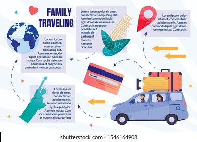 Prompt Flyer Creative Vacation Traveling by Car. Husband and Wife Travel by Car While Traveling Abroad. On Roof Car are Suitcases. Development Travel Plan Cartoon. Vector Illustration.