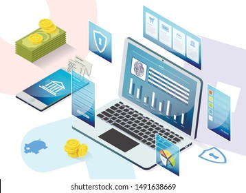 Prompt Poster Service App for Opening Deposits. Banking and Service Transferring Funds from Accounts. An Account Statement Comes Out  Smartphone. Laptop Screen, Account Information.