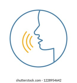 Pronunciation color icon. Phonetic spelling. Speech recognition. Speaking. Basic language skills. Voice control. Speech therapy. Isolated vector illustration