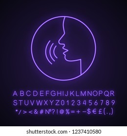 Pronunciation neon light icon. Phonetic spelling. Speech recognition. Speaking. Basic language skills. Voice control. Speech therapy. Glowing sign with alphabet, numbers. Vector isolated illustration