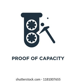 Proof of capacity icon. Black filled vector illustration. Proof of capacity symbol on white background. Can be used in web and mobile.
