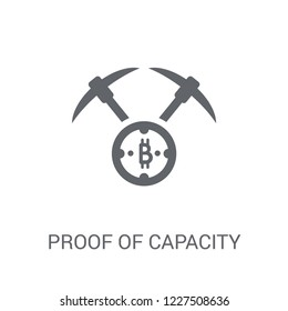 Proof of capacity icon. Trendy Proof of capacity logo concept on white background from Cryptocurrency economy and finance collection. Suitable for use on web apps, mobile apps and print media.
