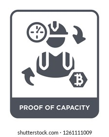 proof of capacity icon vector on white background, proof of capacity trendy filled icons from Cryptocurrency economy and finance collection, proof of capacity simple element illustration