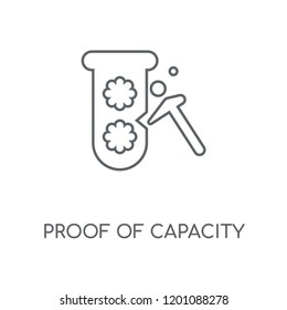 Proof of capacity linear icon. Proof of capacity concept stroke symbol design. Thin graphic elements vector illustration, outline pattern on a white background, eps 10.
