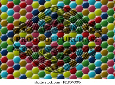 proof of purchase text inside Colorful candy badge. Hexagon fashionable background. Artistic illustration.