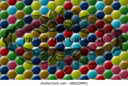 proof of purchase text inside Currency Colorful multicolored realistic emblem. Hexagon classic background. Artistic illustration.
