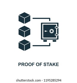 Proof Of Stake icon. Monochrome style design from blockchain collection. UX and UI. Pixel perfect proof of stake icon. For web design, apps, software, printing usage.
