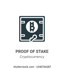 Proof of stake vector icon on white background. Flat vector proof of stake icon symbol sign from modern cryptocurrency collection for mobile concept and web apps design.
