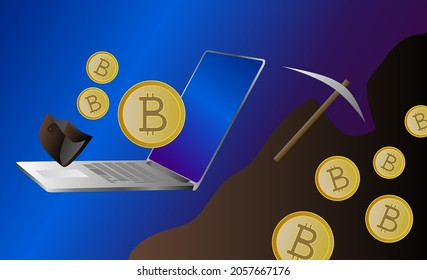 Proof of work and proof of stake - vector illustration. Crypto mining concept