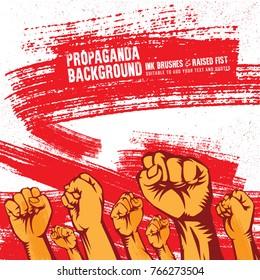 Propaganda Background Style Revolution Fist Raised In The Air