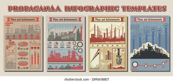 Propaganda Infographic Template Set, Old Soviet Propaganda Posters Stylization