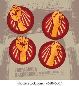 Propaganda Logo Set Revolution Fist Raised In The Air. Clenched Fist