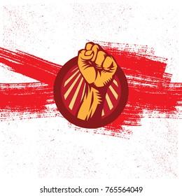 Propaganda Logo Style Revolution Fist Raised In The Air