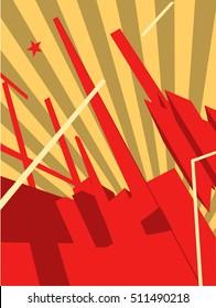 propaganda poster with constructivist