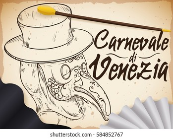 Propaganda poster with hand drawn plague doctor character illustration in scroll with black cloak, ruff neckwear and cane for the celebrations in Carnival of Venice (written in Italian).