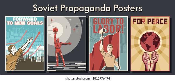 Propaganda Poster Set, Soviet Placards, Illustrations, Industry, Astronautics, Labor and Peace