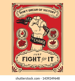 Propaganda poster vintage, fist hand with text victory, hope and fight classic style