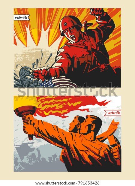 Propaganda and war poster set in colorful vector illustration painting from North Korea 1