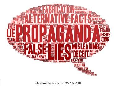 Propaganda word cloud on a white background.
