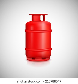 Propane gas balloon. Red gas tank, gas container.