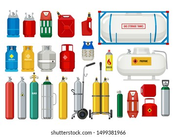 Propane tanks. Gas safety ballons dangerous oxygen or propane vector illustrations