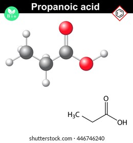 Propanoic acid molecule, 2d and 3d illustration of molecular structure, vector on white background, eps 8