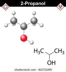 Propanol  - structural chemical formula and model of isopropanol, 2d and 3d isolated on white background, vector, eps 8