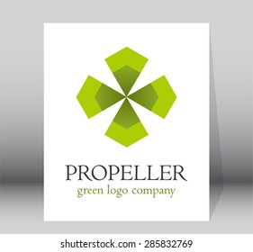 Propeller green energy simple logo element design vector art eco shape symbol icon template