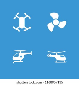 Propeller icon. collection of 4 propeller filled icons such as helicopter, medical helicopter. editable propeller icons for web and mobile.