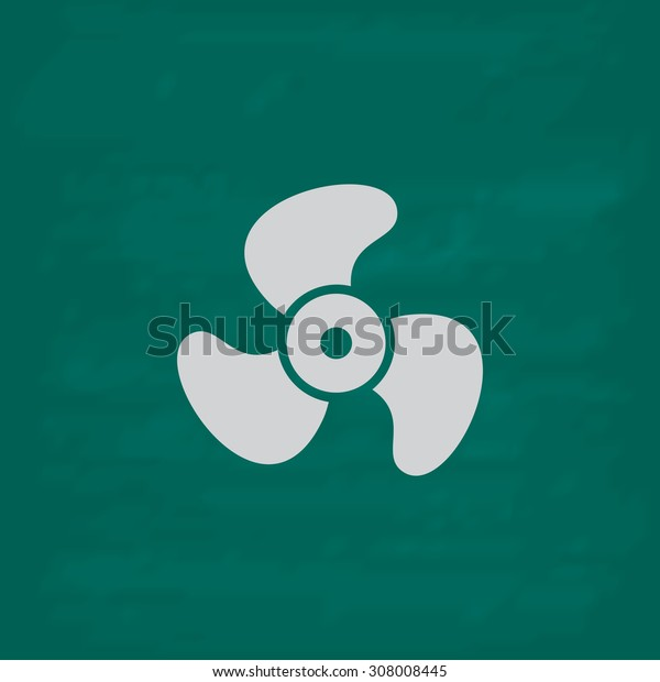 Propeller. Icon. Imitation draw with white chalk on green chalkboard. Flat Pictogram and School board background. Vector illustration symbol