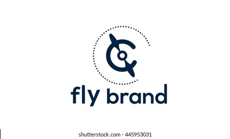 Propeller vector logo design. Flying brand identity
